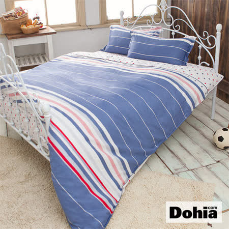 《Dohia-美式風潮》高級寬幅布雙人加大四件式精梳純棉兩用被薄床包組