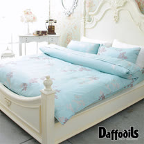 Daffodils《戀飄毓-湖綠》精梳純棉雙人加大四件式薄被套床包組