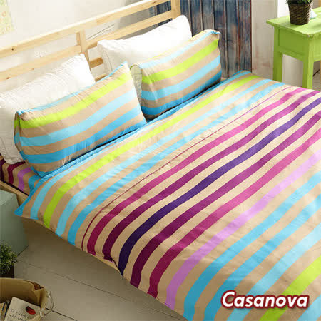 Casanova《幻采潮流》天絲棉絨雙人四件式全舖棉兩用被床包組r*★天然活性印染