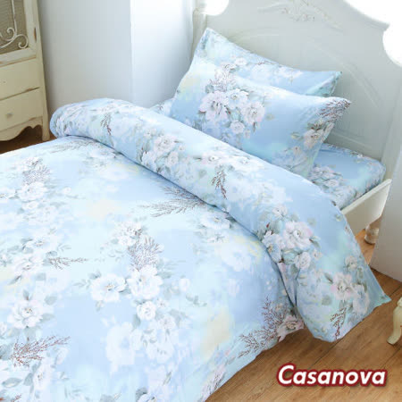 Casanova《薄荷之戀》天絲棉絨雙人加大四件式全舖棉兩用被床包組r*★天然活性印染