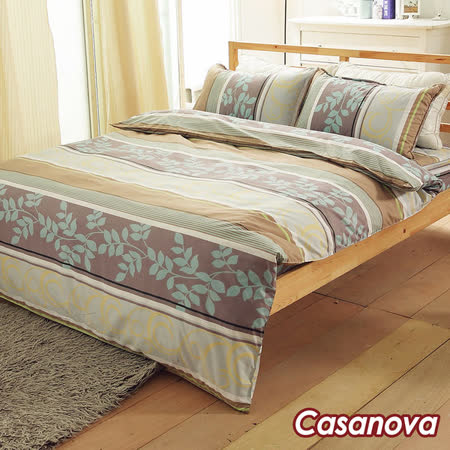 Casanova《綠意盎然》天絲棉絨雙人加大四件式全舖棉兩用被床包組r*★天然活性印染
