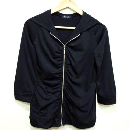 現貨-日本CIELO 黑色抓皺連帽拉鍊長袖外套-黑/M