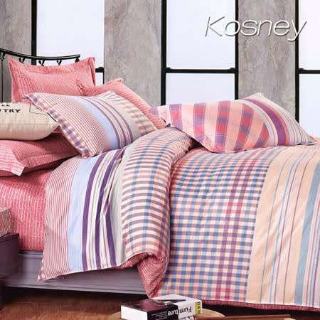 《KOSNEY 秋色宜人》特大精梳棉四件式兩用被床包組