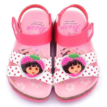 童鞋城堡-朵拉 中童 可愛軟木風格涼鞋DR3071-桃