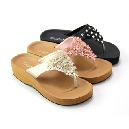 【Pretty】春紛晶鑽花朵厚底夾腳拖鞋