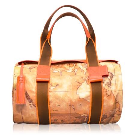 Alviero Martini 義大利地圖包 圓筒流蘇拉鍊尼龍手提肩背包(大)-地圖黃/紅