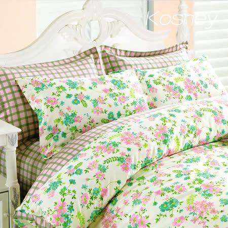 《KOSNEY 花雨格》特大精梳棉四件式兩用被床包組