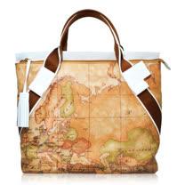 Alviero Martini 義大利地圖包 流蘇拉鍊尼龍手提包(大)-地圖黃/白