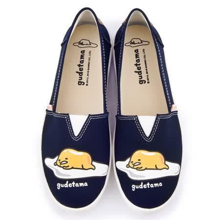 童鞋城堡-蛋黃哥 女款 素色懶人休閒鞋GU7523-藍