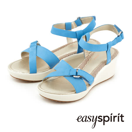 Easy Spirit都會休閒交叉扣環楔形涼鞋 --水藍色