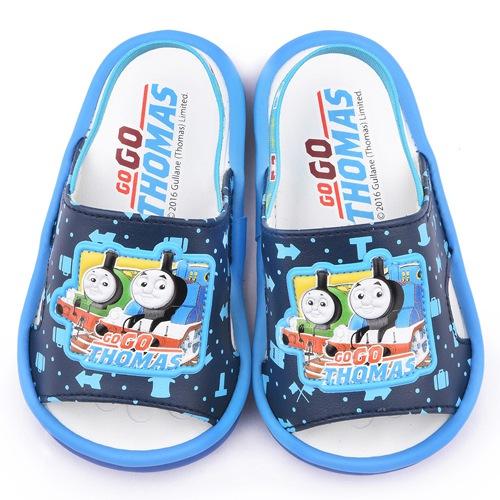 童鞋城堡-湯瑪士 小童 學步嗶嗶後帶拖鞋TH1506-藍
