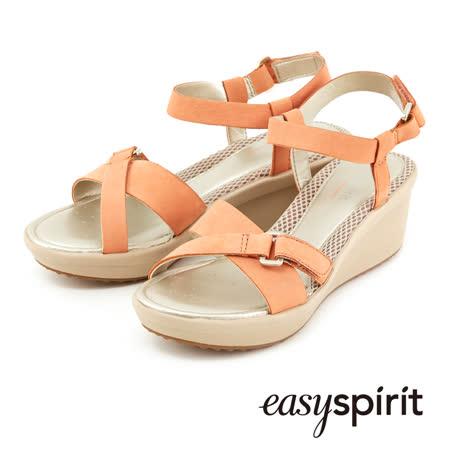 Easy Spirit都會休閒交叉扣環楔形涼鞋 --溫暖橘