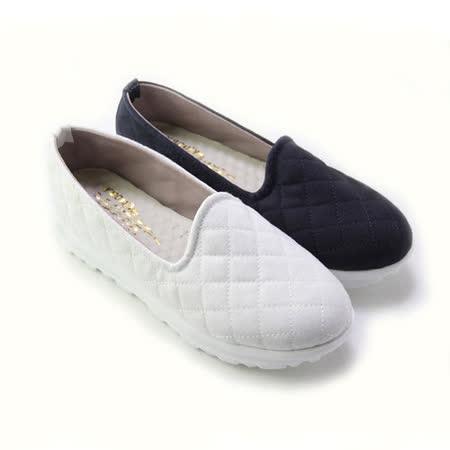 【Pretty】簡約菱格紋懶人厚底休閒鞋