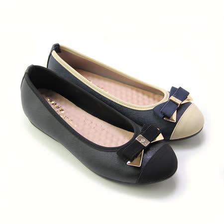 【Pretty】甜美朵結金屬拼接微坡跟娃娃鞋