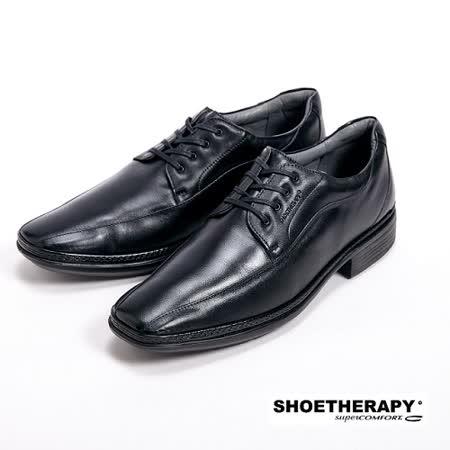 【SAPATOTERAPIA】巴西有機橡膠大底尖頭綁帶皮鞋-黑