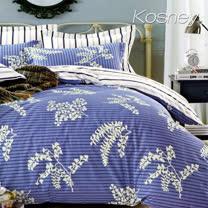 《KOSNEY  若葉秋風》加大精梳棉四件式兩用被床包組