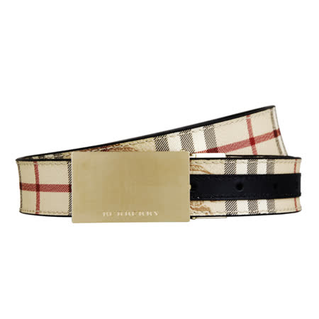 BURBERRY 經典戰馬格紋磨光金屬扣牌條紋搭配皮帶(米黑/100)