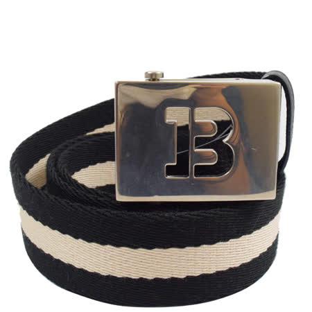 BALLY 經典B LOGO黑白黑織帶休閒皮帶.