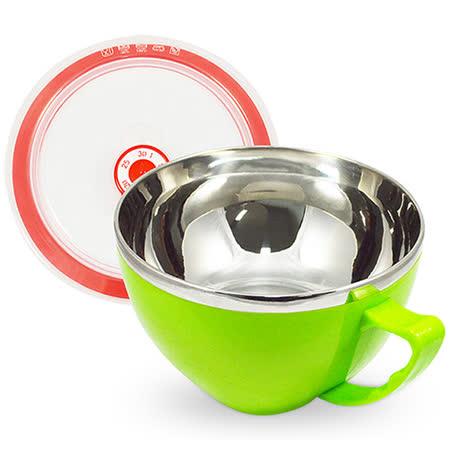 韓式雙層不鏽鋼泡麵碗900ml(綠色)