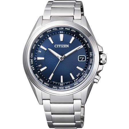 CITIZEN 鈦光動能電波萬年曆腕錶-藍/42mm CB1070-56L