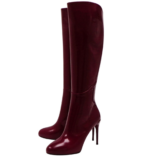 GUCCI 亮面漆皮時尚高跟長靴-紫紅色【37/38/39號】