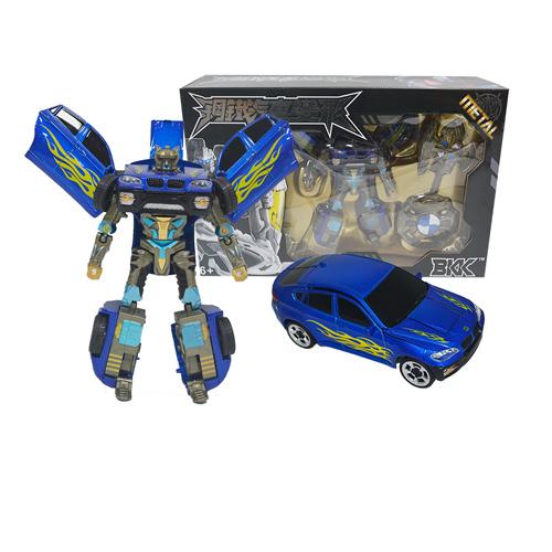 ~購犀利~合金鋼鐵汽車變形機器人(大)~藍