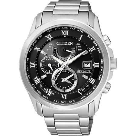 CITIZEN 光動能電波萬年曆腕錶-黑/43mm AT9080-57E