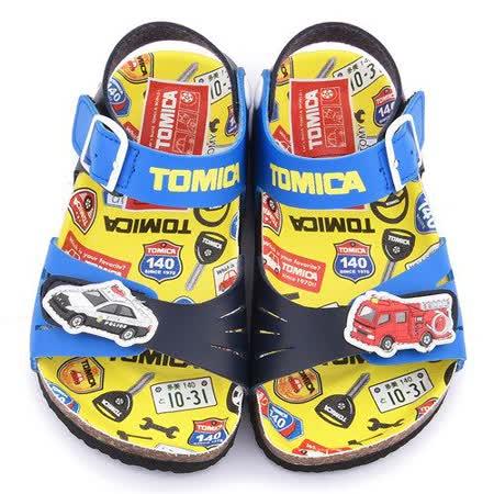 童鞋城堡-Tomica多美小汽車 中小童 軟木風格涼鞋TM3640-藍