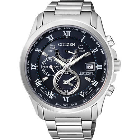 CITIZEN 光動能電波萬年曆腕錶-深藍/43mm AT9080-57L