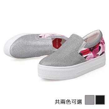 ALicE (預購)Y1031閃鑽厚底圓頭深口樂福鞋 (黑/灰)