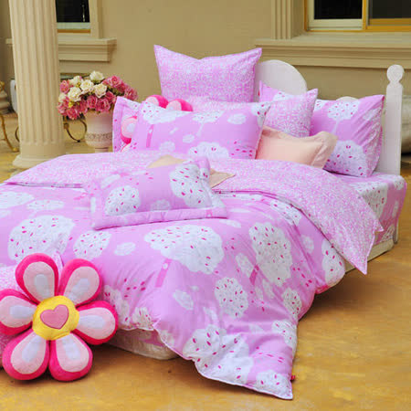 義大利Fancy Belle《甜漾許願樹》雙人純棉床包枕套組