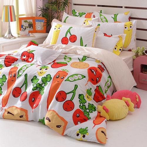 義大利Fancy Belle~蔬果樂園~雙人純棉床包枕套組