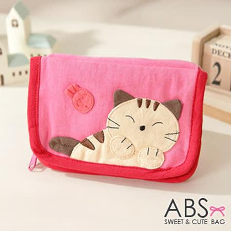 ABS貝斯貓 可愛貓咪拼布皮夾零錢包 (可愛粉) 88-005
