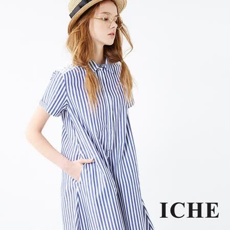 ICHE 衣哲 條紋蕾絲襯衫洋裝 兩色