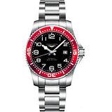 LONGINES 深海征服者300米潛水機械錶-黑x紅/39mm L36944596
