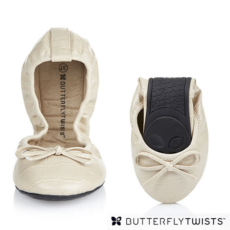 BUTTERFLY TWISTS - VICTORIA可折疊扭轉芭蕾舞鞋-白色鱷魚壓紋
