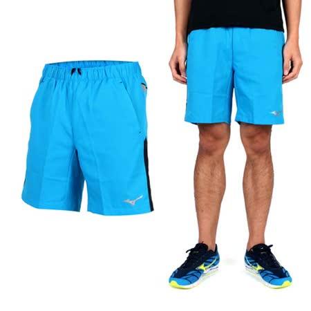 (男) MIZUNO 平織短褲- 路跑 慢跑 休閒短褲 美津濃 藍黑