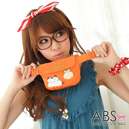 ABS貝斯貓-可愛貓咪手工拼布小朋友腰包/手提包(蜜柑橘)88-033