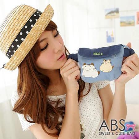 ABS貝斯貓-可愛貓咪手工拼布小朋友腰包/手提包(水藍)88-033