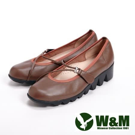 【W&M】(女)軟皮淑女魔鬼氈娃娃鞋-咖(另有黑)