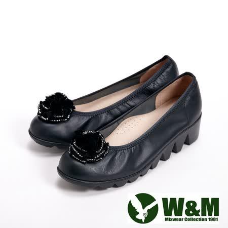 【W&M】(女)真皮貼鑽花朵氣墊厚底休閒女鞋-黑(另有藍)