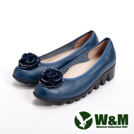 【W&M】(女)真皮貼鑽花朵氣墊厚底休閒女鞋-藍(另有黑)