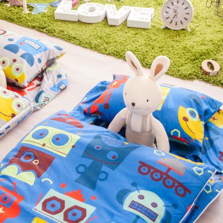 OLIVIA  機械紀元 藍  100%精梳純棉 舖棉兩用加大型兒童睡袋