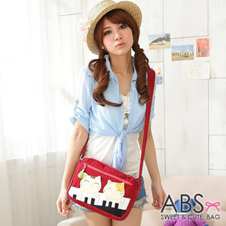 ABS貝斯貓-可愛貓咪手工拼布 肩背/側背包(暗紅)88-157