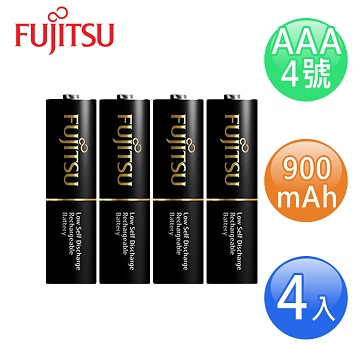 FUJITSU富士通 低自放900mAh充電電池組(4號4入)