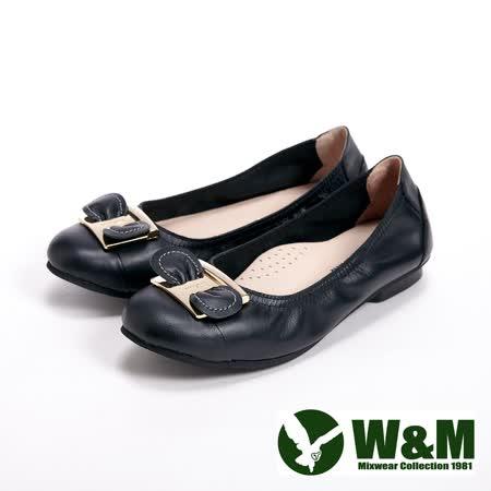 【W&M】(女)金屬小蝴蝶結柔軟女鞋-黑(另有粉、銀)