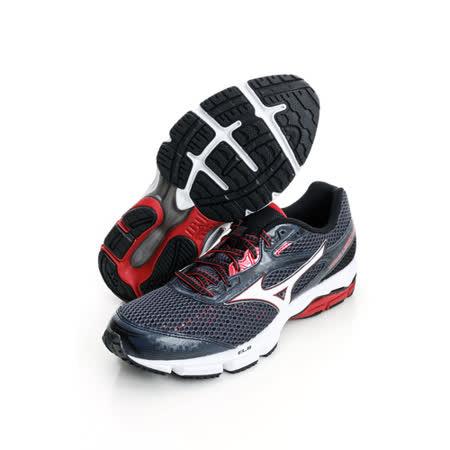 美津濃MIZUNO(男)慢跑鞋-黑白紅-J1GC151001