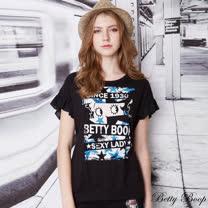 【Betty Boop貝蒂】膠印大圖雪紡荷葉袖上衣(共二色)