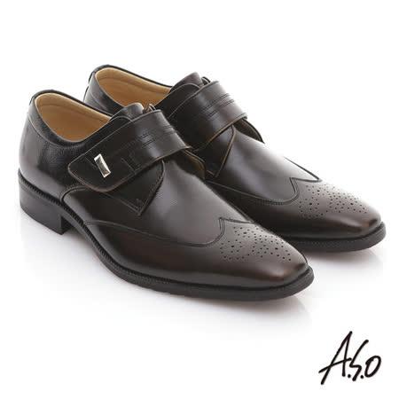 【A.S.O】舒活系列 全真皮金屬飾釦魔鬼氈紳士牛津鞋(茶)