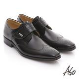 【A.S.O】舒活系列 全真皮金屬飾釦魔鬼氈紳士牛津鞋(黑)